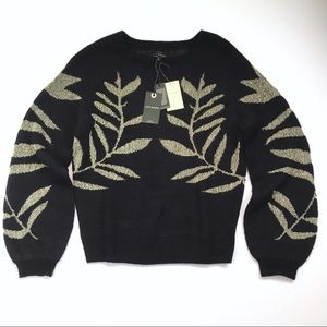 Lucky Brand Gold Leaves Knit Black Sweater